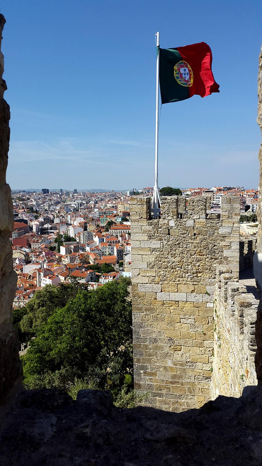 Portugal flag from Sao Jorge Castle Lisbon