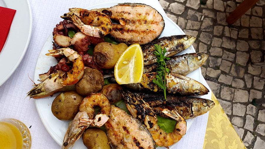 Sea food in Chafariz do Carmo sqare in Bairro Alto - Lisbon