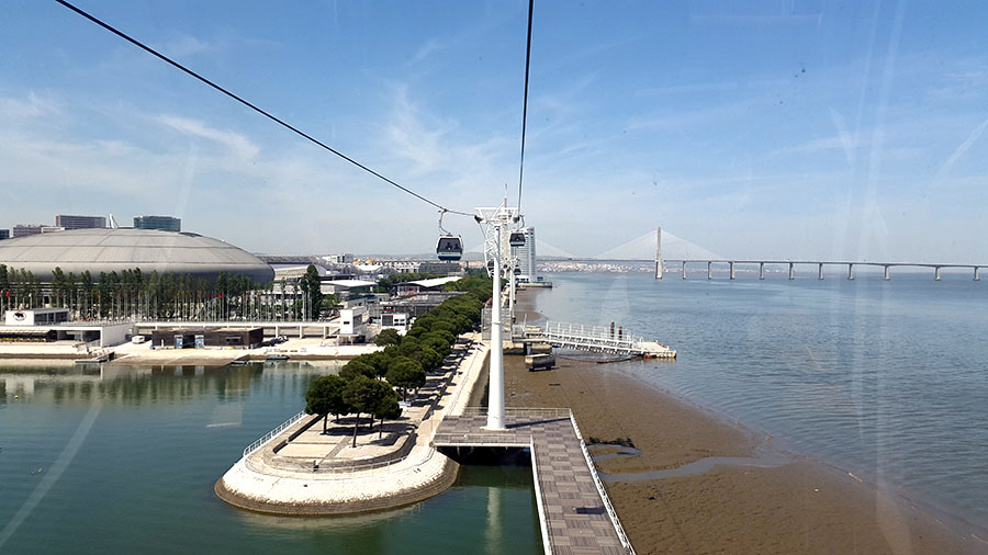 Telecabine Lisboa view from cabin to Vasko de Gama bridge