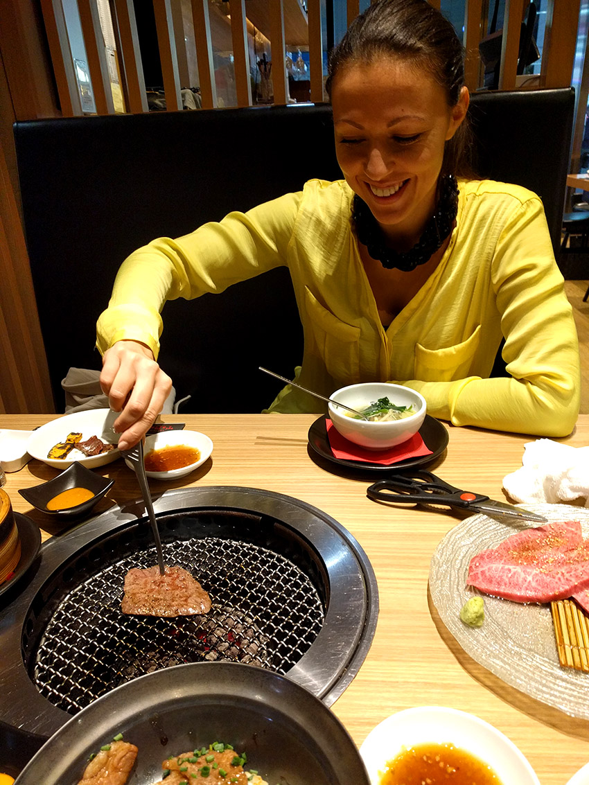 Me cooking barbecue at Japanese restaurant.