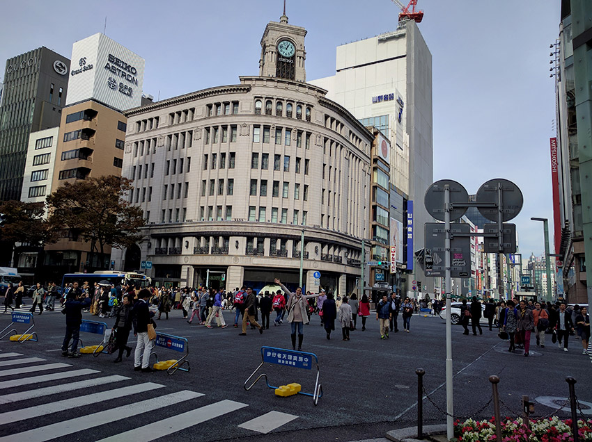 Streets of Ginza district in Tokyo.