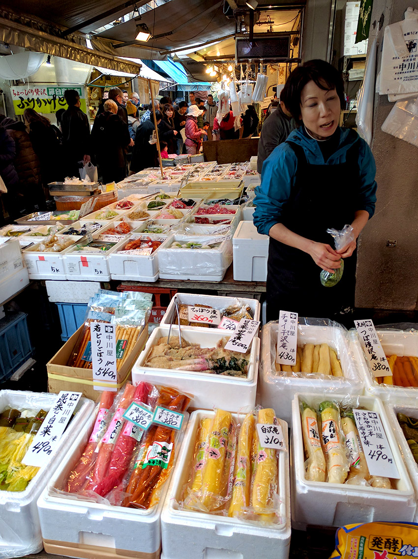 In front of the Tsukiji Nippon Fish Port Market in Tokyo.