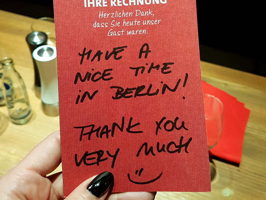 Berlin thank you note