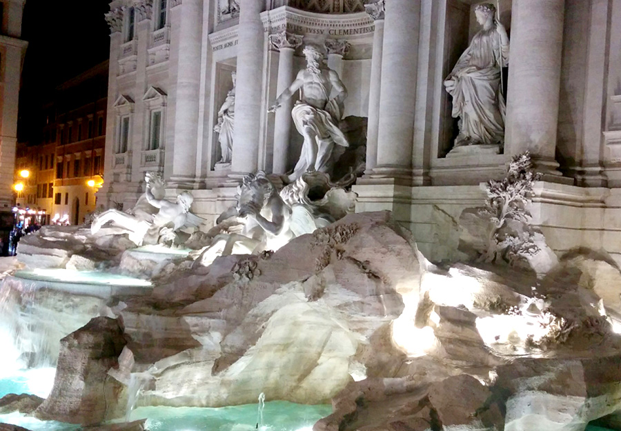 Rome, Trevi, fountain at night.