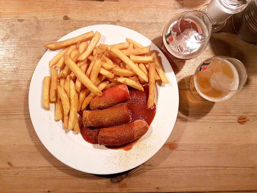 Sausages and beer Brauhaus Alexander platz