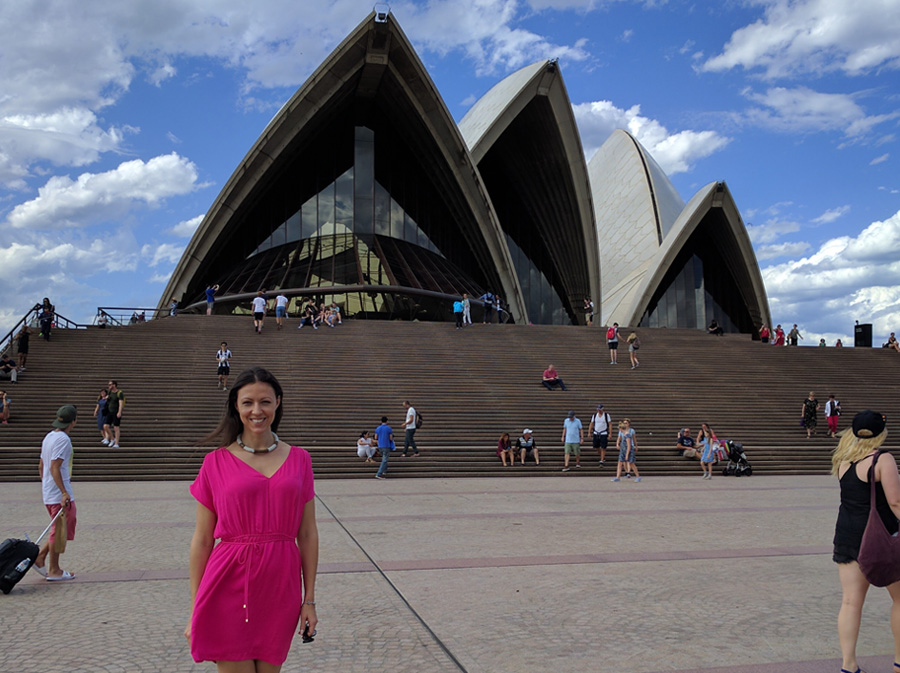 In front of the Sydney Opera House at daytime